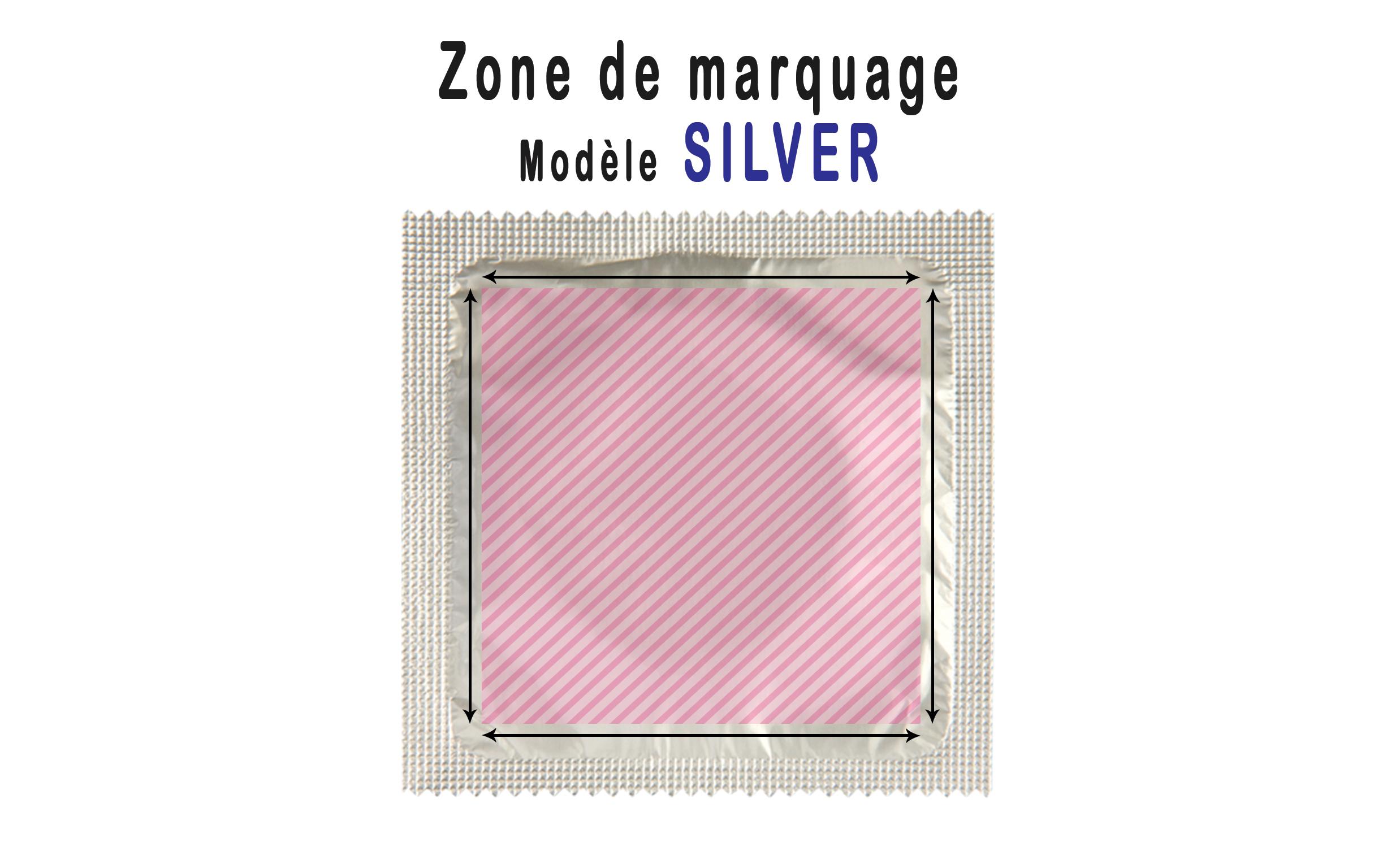 zone de marquage préservatif personnalisé silver